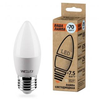 """Лампа """"свеча"""" LED WOLTA 25YC7.5E27-P 3000K """"Ваша лампа 7.5вт"""""""